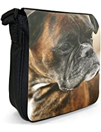 Brown Boxer Dog Close Up Of Face Small Black Canvas Shoulder Bag / Handbag