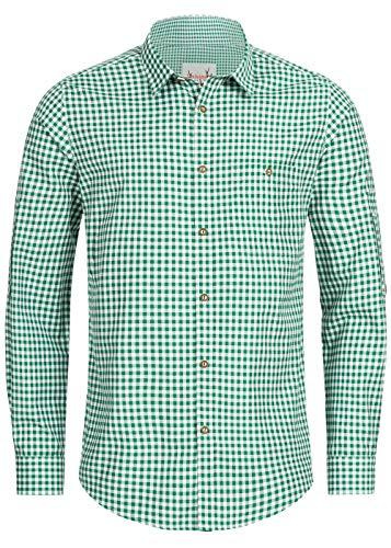 Stockerpoint Trachtenhemd OC-Martl | kariert | Regular Fit (L, Dunkelgrün)