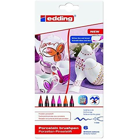 Edding 4200 - Pack de 6 rotuladores, gama rojo/rosa