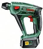 Bosch DIY Akku-Bohrhammer Uneo Maxx, Akku, Ladegerät, 2 Bohrer, 4 Bits, Koffer (18 V, 1,5 Ah, max. Bohr-Ø Metall: 8 mm, Beton: 10 mm, Holz: 10 mm)