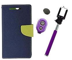 Novo Style Book Style Folio Wallet Case Moto G Plus4th Gen Blue + Selfie Stick with Adjustable Phone Holder and Bluetooth Wireless Remote Shutter