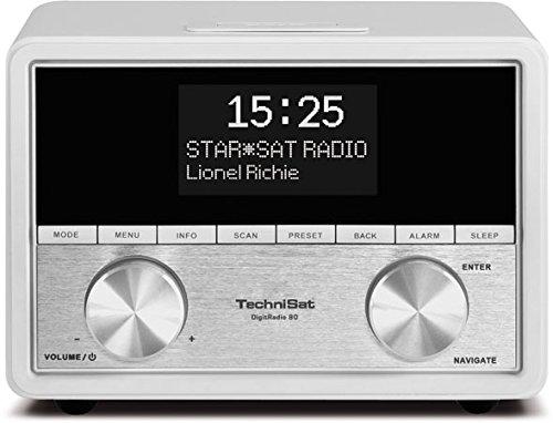 TechniSat Digitradio 80 Stereo DAB Radiowecker (DAB+, UKW, USB Ladefunktion, Kopfhöreranschluss, AUX-IN, Sleeptimer, Schlummerfunktion, 2 Weckzeiten, 10 Watt RMS) weiß