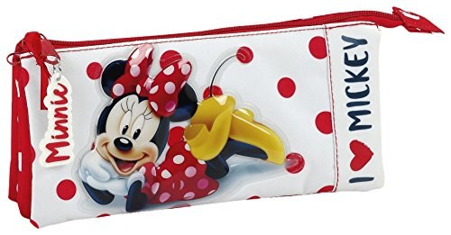 Minnie Mouse Estuches, 22 cm, Rojo y Blanco