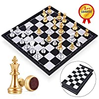Peradix Travel Chess Set Board Games Toys For Childrens/Adults -Gold/Silver Chess Piece -Traditional Game Gift (Size-25x25cm)