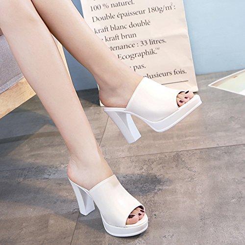 Pente avec sandales à talons hauts à bascule --- 10cm Europe fashion cool slippers Femme talons hauts d'été (blanc / noir) --- Herringbone fashion sweet Sandals Blanc