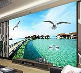 Fototapete 3D Effekt Tapete Malediven Meer Landschaftlichen Vliestapete 3D Wallpaper Moderne Wanddeko Wandbilder