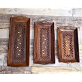 Worthy Shoppee Handmade Wooden Serving Coffee Tray, Set Of 3 With Brass Work