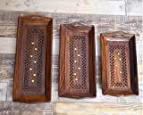 #6: Worthy Shoppee Handmade Wooden Serving Coffee Tray, Set of 3 with Brass Work