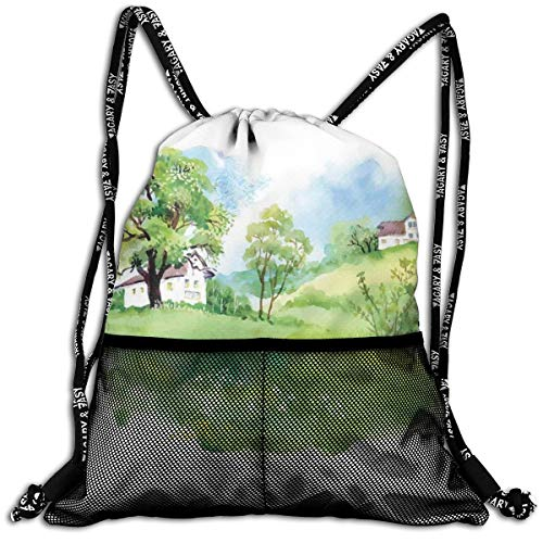 ightweight Foldable Large Capacity Drawstring Casual Rucksack, Watercolor Effect Digital Image Print of Rural Life In Nature with Houses Landscape,Unisex Fitness Bag ()