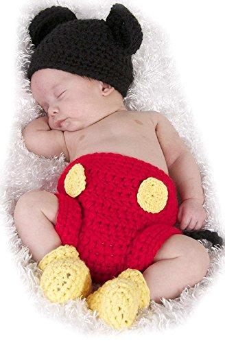 Autek® Fotografie Prop Baby-Kostüm Süss Crochet häkeln Strickmütze Hut Cap Mädchen Jungen Windel Schuhe Maus