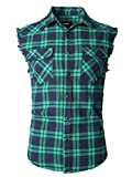 SOOPO Herren Ärmellose Kariert Flanell Hemden Freizeithemd aus Baumwolle Sleeveless T-Shirt(Marine&grün,L)