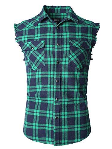 SOOPO Herren Ärmellose Kariert Flanell Hemden Freizeithemd aus Baumwolle Sleeveless T-Shirt(Marine&grün,XL) (Herren-nadelstreifen-hemd)