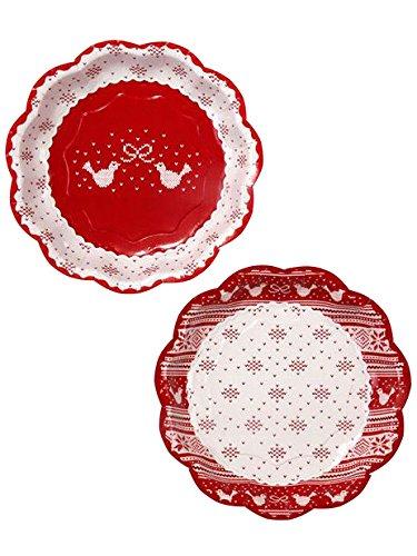 Fête en Porcelaine en Tricot Noel Papier Plaque X 2 Designs, Lot de 8, Rouge