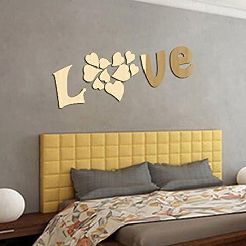 Saingace Romantique Stickers Muraux Lettres LOVE 3D Miroir Autocollant Maison Décoration (Or)
