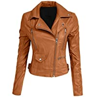 Hashoob Ladies Polyurethan Leather Jacket Women Jacket NP-01 (NP-LTHR-C-BROWN, S)
