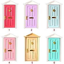 1:12 Juegos para Casas de muñecas Puerta de Madera con Herrajes 4 Panles Cima Apuntada en Miniatura Rosa Roja