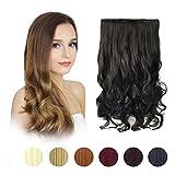 FESHFEN Extensions de Cheveux Une Pièce Clip 50.8 cm de 3/4 tête Cheveux Longs Bouclés et Cheveux Raides