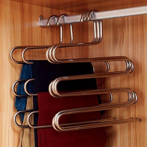 S-Type MEHRZWECK Edelstahl Magic Hose Kleiderbügel Closet Kleiderbügel Space Saver Storage Rack für Aufhängen Jeans Schal Krawatte (Set von 2) (Jeans-space Saver Hanger)