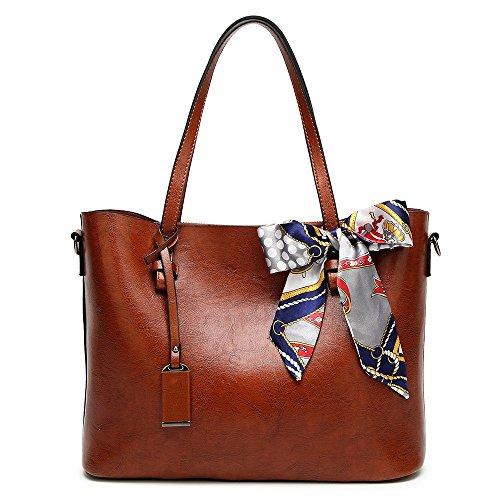 SEESUNGM Umhängetasche Handtasche Modische Damentasche, Öl, Wachs, Leder, Große Tasche, Große Kapazität Tote, Einfache Freizeit Seidenschal. (Schwarze Tote Kalbsleder)