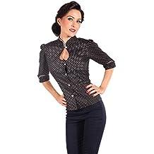 89e803a6b52813 SugarShock Damen Cute Asia Polka Dots Rockabilly Puffärmel Stehkragen Bluse  Shirt