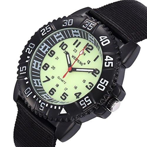 Unendlich U Fashion Unisex Quarzarmbanduhr Schwarz Nylon Armband Wasserdicht Armbanduhr mit Leuchtzifferblatt für Reise/Wandern/Klettern/Camping
