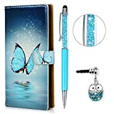 KASOS Hülle für Sony Xperia XA1 PC Hard Case Handyhülle Tasche Schale Protective Taschen Cover PC Hard Backcase Buntes Bumper Gemalt, Blau Schmetterling + Stöpsel + Stylus