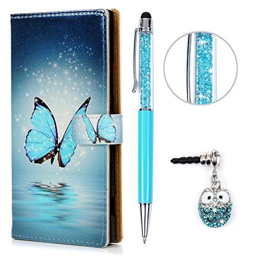 Sony Xperia XA1 Hülle KASOS Sony Xperia XA1 PC Hard Case Handyhülle Tasche Schale Protective Taschen Cover PC Hard Backcase Buntes Bumper Gemalt, Blau Schmetterling + Touch Pen + Eule Stöpsel Staubstecker