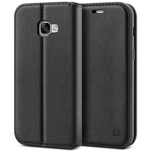 BEZ Cover Samsung A5 2017, Custodia Compatibile per Samsung Galaxy A5 2017, Protettiva Portafoglio in Pelle Con Porta Carta di Credito, Kick Stand, Nero