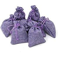 Quertee 8 x Sacos de Lavanda de Lino Rellenos con 15 g de Lavanda Francesa Cada uno – Violeta Lino saquitos con un Total de 120 g Flores de Lavanda de Francia