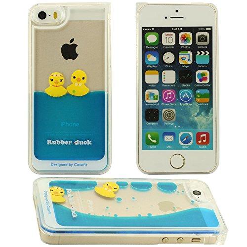 iPhone 5 Hülle, iPhone 5 case,3D-Doppel Rubber Duck Fließen Flüssig harter Silikon-Kunststoff-Schutzhülle für das Apple iPhone 5 5S 5G Hülle (Kaiserkrone Ente) blau