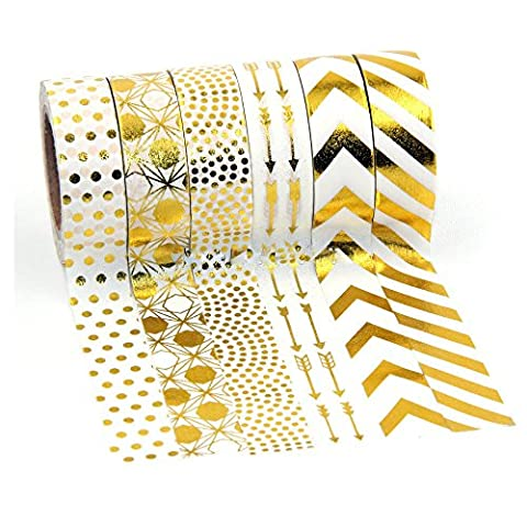 Lot de 6 Feuille d'or Washi Craft rubans