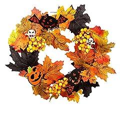 Idea Regalo - 1 PZ Corona di Halloween Corona di foglie d'acero Corona di autunno Corona di zucca con luce per porta d'ingresso Home Decor Decorazione di Pasqua (uno stile) Articolo per Halloween