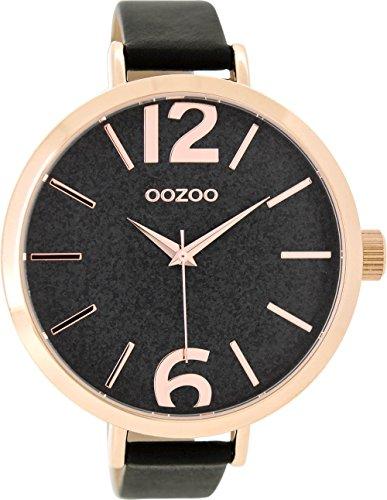 Oozoo Damenuhr mit Lederband 48 MM Rose/Glitzer/Schwarz C9194