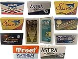 70 Rasierklingen für Rasierhobel, Probe Set, Test Set, Astra-Derby-Feather-Dorco-Personna-Gillette-Wilkinson-Shark-Super Max, Rasierklingen Set