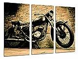 Cuadro Moderno Fotografico Moto Vintage Negra, Harley Davidson, 97 x 62 cm, ref. 26712