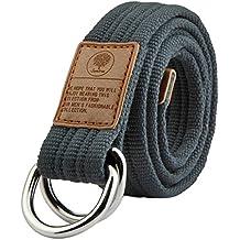 Shanxing Unisex Mujeres Hombre Tejido Militar Web Anillo Doble Hebilla Cinturón