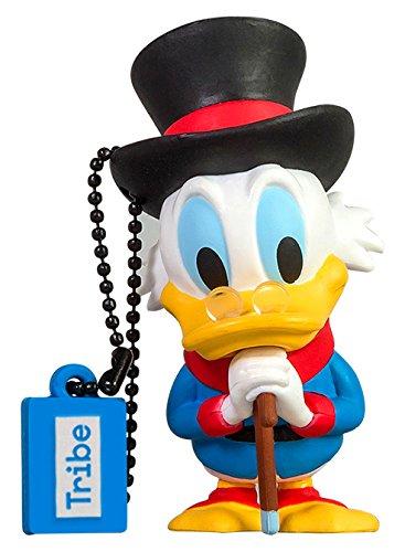 Tribe disney uncle scrooge (zio paperone) chiavetta usb da 16 gb pendrive memoria usb flash drive 2.0 memory stick, idee regalo originali, figurine 3d, archiviazione dati usb gadget in pvc con portachiavi - multicolore