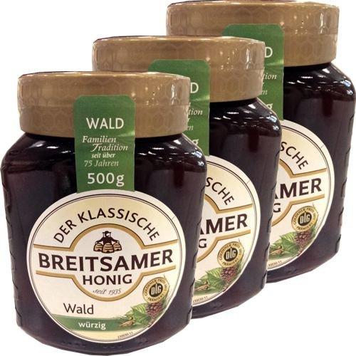 Breitsamer Honig Der Klassische Waldhonig 3 Gläser á 500g (würzig)