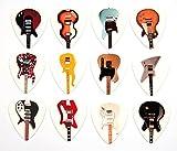 Satz von 12 berühmte klassische e-Gitarren auf Guitar Picks Plektren Satz A