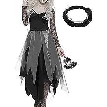 Hotbesteu Traje de Halloween Mujer Disfraz De Novia Cadaver Vampiro Fantasma Zombie Cosplay Vestidos Fiesta Para