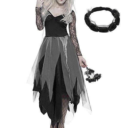 New_soul donna costumi di halloween graveyard bride corpse vestito donna pizzo travestimento con fascia nera cosplay halloween party costume xl