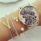 Danzh Lovely Leaf Bowknot Design Kristall Perlen Armband Set Modische Charming Elegante Offene Armband Set Schmuck Geschenk für Frauen Mädchen