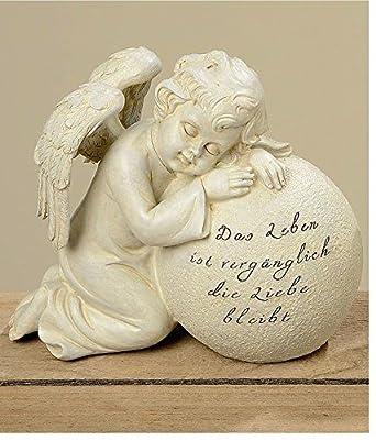 Trauerengel Grabschmuck Engel *Das Leben ist vergänglich...* beige-antik H 16 cm von Home3010 bei Du und dein Garten