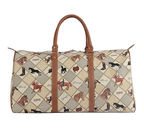 Signare grand fourre-tout bagage weekender en toile tapisserie mode femme Cavalier Sport