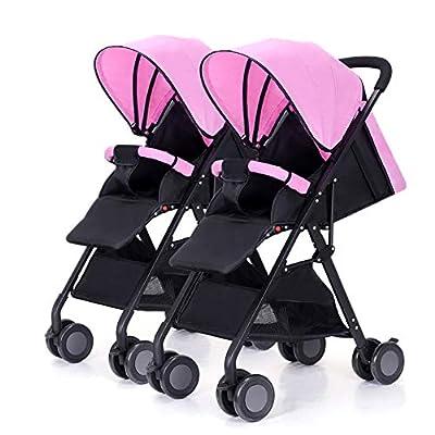Strollers NAUY @ Cochecito de bebé Gemelo, Desmontable Ligero Suspensión Plegable Carro Infantil Doble Marco Negro Sillas de Paseo