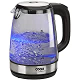 Electric Cordless Glass Kettle Blue Illumination LED 2.0L, 2200W by Cooks Professional
