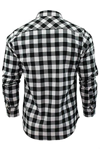 Chemise pour homme en flanelle brossée à carreaux et manches longues Brave Soul Clergy - White/ Black