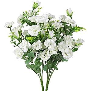 Luyue 7 ramas 21 cabezas artificiales de seda de hojas de flores artificiales para decoración de boda, paquete de 4…
