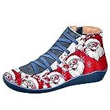 XNBZW Femmes Bottines De Noël Appartements Décontractés Père Noël en Cuir À Lacets Fermeture Éclair Chaussures Blue 39
