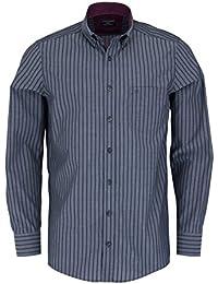 CASAMODA Comfort Fit Hemd Langarm New Kent Kragen Streifen grau